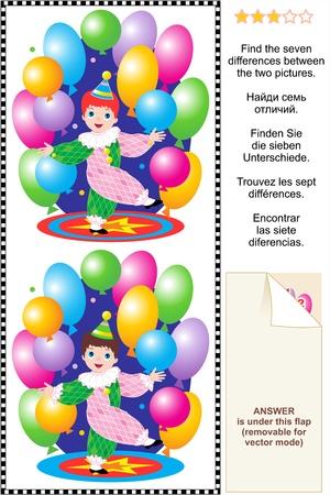 clown cirque: Picture Puzzle Trouvez les sept diff�rences entre les deux images de peu clown gar�on jouant avec des ballons color�s R�pondez inclus
