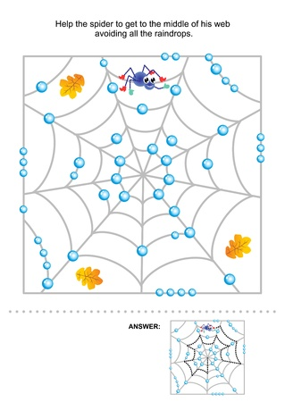 Maze game for kids  Help the spider to get to the middle of his web avoiding all the raindrops  Answer included Stok Fotoğraf - 21062697