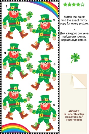 Visual puzzle  suitable both for kids and adults   Match the pairs - find the exact mirror copy for every leprechaun image  Answer included  Vector