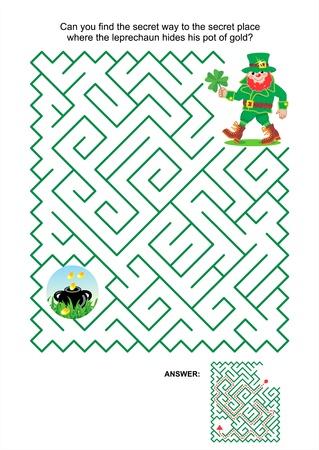 St Patrick's Day thema doolhof spel of activiteit pagina Kan je het geheim weg naar de geheime plaats waar de kabouter verbergt zijn pot met goud antwoord vinden opgenomen