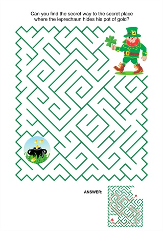 St  Patrick s Day themed maze game or activity page  Can you find the secret way to the secret place where the leprechaun hides his pot of gold  Answer included  Vector
