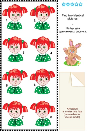 Visual puzzle  Find two identical pictures of girls with red hair and green eyes  Answer included  Vector