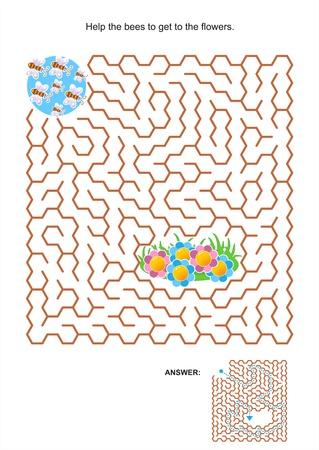 Doolhof spel of activiteit pagina voor kinderen Help de bijen om de bloemen te krijgen Antwoord inbegrepen Stock Illustratie
