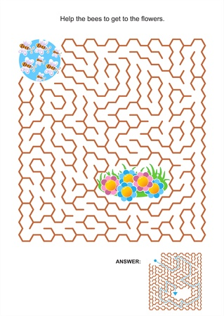 Maze game or activity page for kids  Help the bees to get to the flowers  Answer included