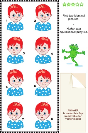 Visual puzzle  Find two identical pictures of boys with red hair and blue eyes  Answer included  Vector
