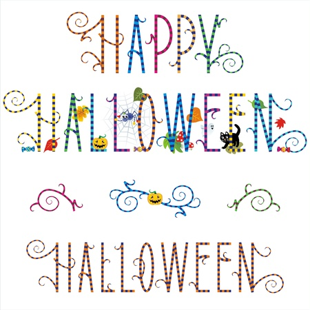 Funky Happy Halloween greeting text with pumpkin, ghost, spider, black cat, candy and autumn leaves, plus design elements Vector