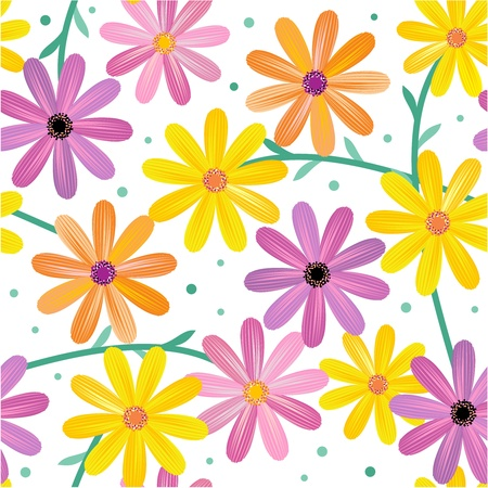 Seamless, or repeatable gerbera daisy flowers pattern, background, wallpaper on white backdrop  No gradients used, flat colors only  Vector
