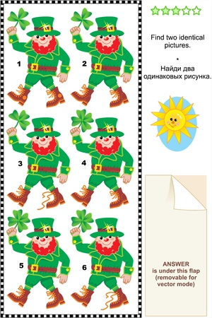 St  Patrick s Day themed visual puzzle  Find two identical pictures of leprechauns  Answer included  Stock Vector - 21400423