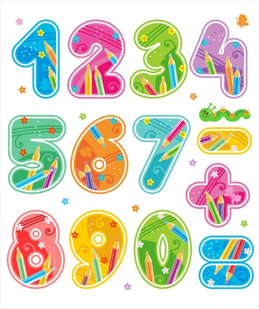 Colorful decorated numbers and arithmetic signs symbols collection