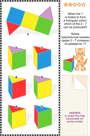 Mental gym visual math puzzle  suitable both for kids and adults   When the 1 is folded to form a triangular prism, which of the 2 - 7 can be produced  Answer included