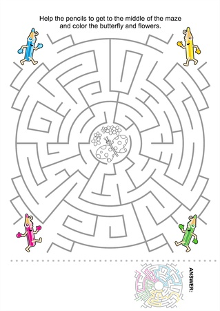 Maze game for kids  Help the pencils to get to the middle of the maze and color the butterfly and flowers  Answer included  Vector