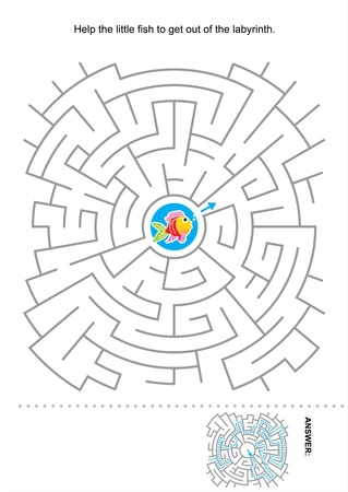 Maze game for kids  Help the little fish to get out of the labyrinth  Answer included  Stock Vector - 21400442
