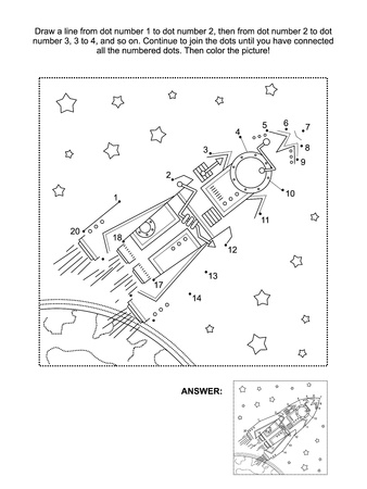 printable coloring pages: Connect the dots picture puzzle and coloring page, space exploration themed, with rocket, stars, earth Illustration