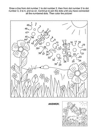 Verbind de stippen foto puzzel en kleurplaat, lente of zomer thema vreugde, met vlinders, bloemen, gras