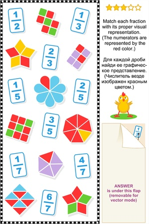Educational math puzzle  Match each fraction to its proper visual representation   Answer included  Illustration