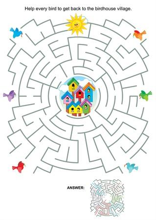 орнитология: Лабиринт игры или страница деятельность для детей Помощь всех птиц, чтобы вернуться к скворечник села Ответ включены Иллюстрация