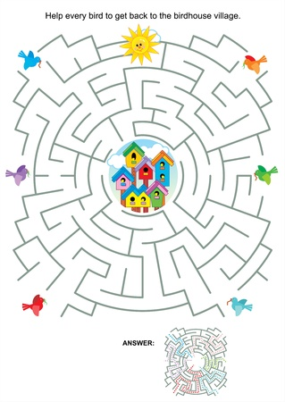 Maze game or activity page for kids  Help every bird to get back to the birdhouse village  Answer included  Vector