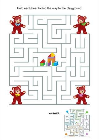 아이들을위한 미로 게임이나 활동 페이지가 각각 포함 된 놀이터 답변에 방법을 찾기 위해 곰 도움말