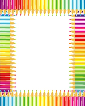Rainbow colored pencils frame or border