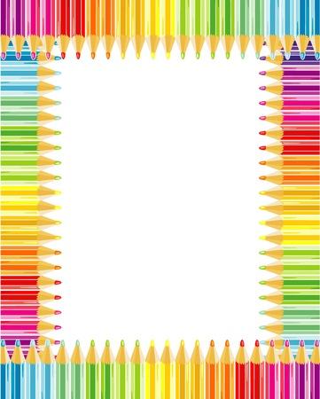 Regenboog kleurpotloden frame of grens
