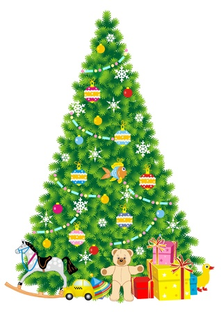 Christmas tree with ornaments, gifts and toys