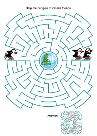 Maze game or activity page for kids  Help the little skating penguin to join his friends  Answer included  Vector