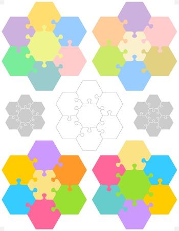 Zeshoekige puzzel blanco templates of snijden richtlijnen, pastel en kleurrijke patronen voor conceptuele, educatieve en gaming projecten Stock Illustratie