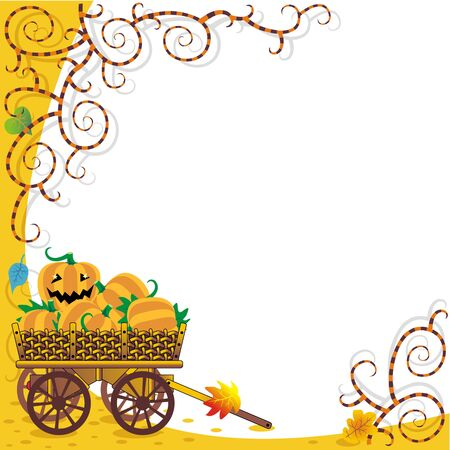 Framed Halloween or autumn background with funky vines and wagon full of pumpkins