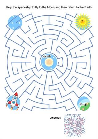 Doolhof spel of activiteit pagina voor kinderen Help het ruimteschip te vliegen naar de maan en daarna terug te keren naar de aarde Antwoord opgenomen