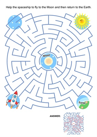 Maze game or activity page for kids  Help the spaceship to fly to the Moon and then return to the Earth  Answer included  Vector