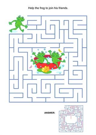 Doolhof spel of activiteit pagina voor kinderen Help de kikker om zijn vrienden mee Antwoord inbegrepen