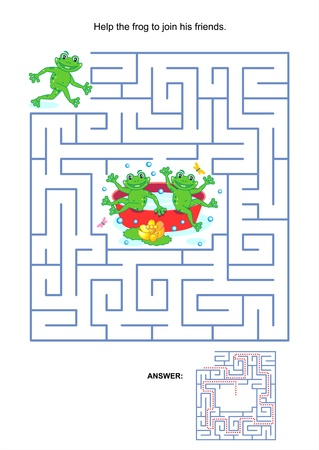 Maze game or activity page for kids  Help the frog to join his friends  Answer included  Illustration