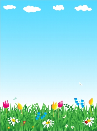 grassland: Fresh green grass and wildflowers vertical background with copy space Illustration