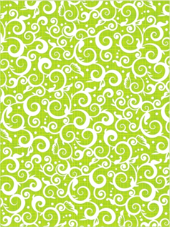 scrollwork: Scrolls and swirls floral pattern background of fresh green colors with fabric texture