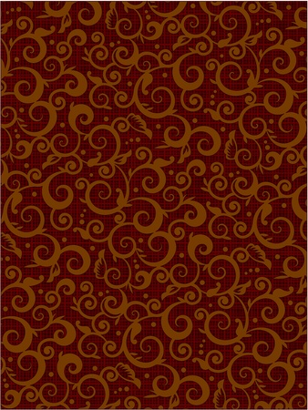 scrollwork: Scrolls and swirls floral pattern vector background of brown colors with fabric texture