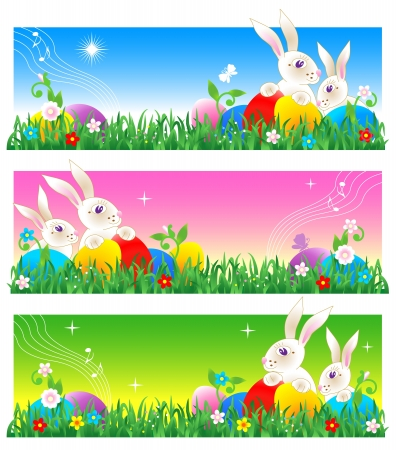 Easter egg hunt banners with bunnies, colorful eggs, fresh green grass, flowers and copy space, or use entire image as greeting card or poster background