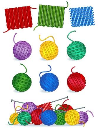 編み物 - 進行中の作業、サンプル、針、糸