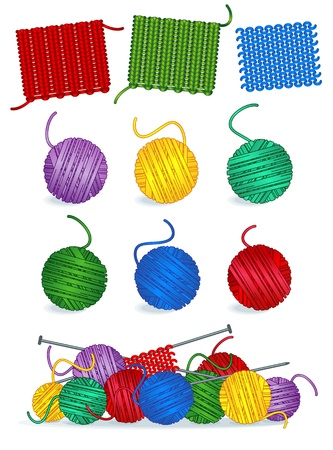 yarns: Knitting - yarn, needles, samples, work in progress Illustration