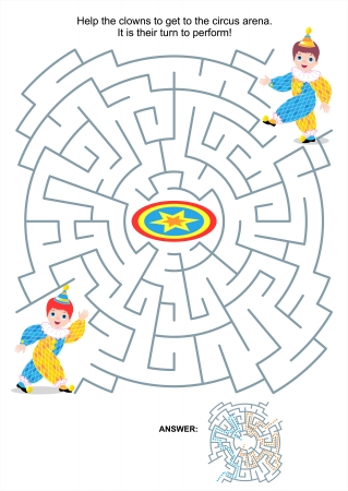 Maze game or activity page for kids  Help the clowns to get to the circus arena  It is their turn to perform  Answer included  Vector