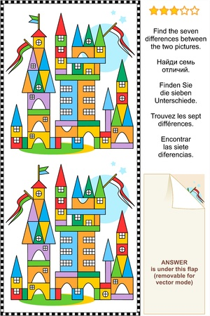 Picture puzzle  Find the seven differences between the two pictures of toy town made of colorful building blocks  Answer included