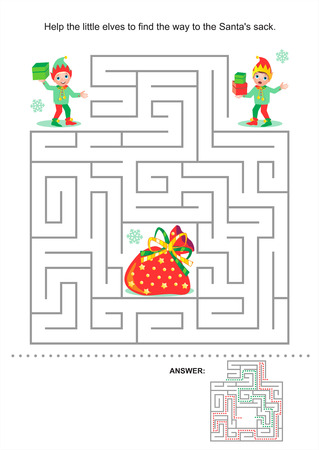 Christmas or New Year maze game for kids  Help the little elves to find the way to the Santa s sack  Answer included  Vector