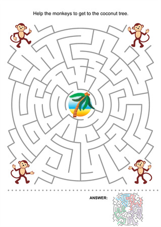Maze game for kids  Help the monkeys to get to the coconut tree  Answer included Stock Vector - 26350994