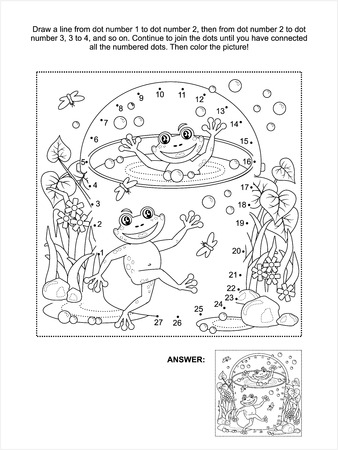 Connect the dots picture puzzle and coloring page, spring or summer joy themed, with happy frogs, bucket full of water, bubbles, puddles, grass, flowers, insects Vector