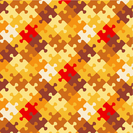 ocher: Autumn colors jigsaw puzzle patterned background, plus seamless pattern included in swatch palette  pattern fill expanded  Illustration