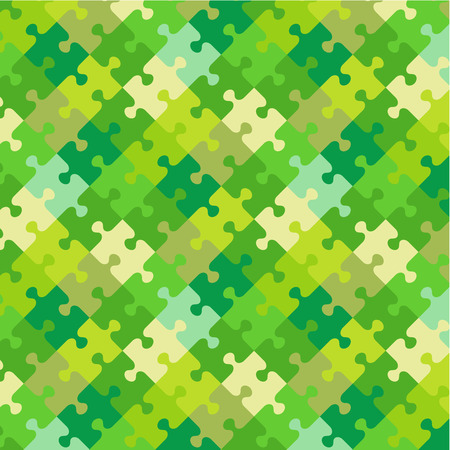 jigsaw puzzle: Spring or summer fresh green foliage colors jigsaw puzzle patterned background, plus seamless pattern included in swatch palette  pattern fill expanded  Illustration