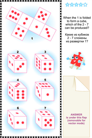 Visual math puzzle  suitable both for kids and adults   When the 1 is folded to form a cube, which of the 2 - 7 can be produced  Answer included