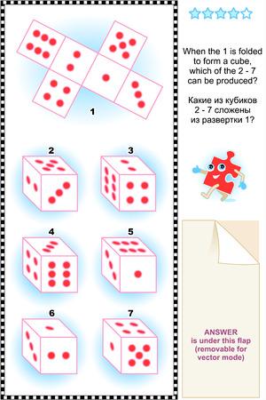 Visual mathraadsel geschikt zowel voor kinderen en volwassenen Als de 1 wordt gevouwen tot een kubus, welke van de 2 vormen - 7 kan worden geproduceerd Inbegrepen antwoord
