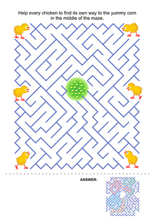 Maze game for kids  Help every chicken to find its own way to the yummy corn in the middle of the maze  Answer included Stock Vector - 26351004