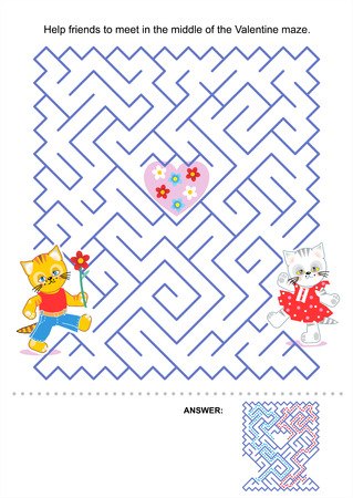 Maze game for kids  Help friends to meet in the middle of the Valentine maze  Answer included  Vector