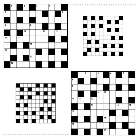 crosswords: Real size crossword puzzle grids 10x10 squares with corresponding answer grids